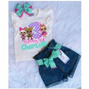 Lol Surprise Custom Birthday denim short set shirt
